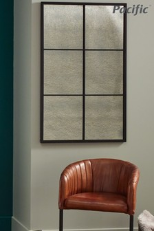 Matt Black Metal 6 Pane With Foxed Glass Wall Mirror by Pacific