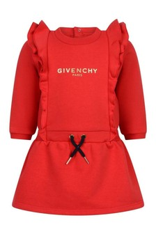 Baby Girls Red Fleece Ruffle Dress