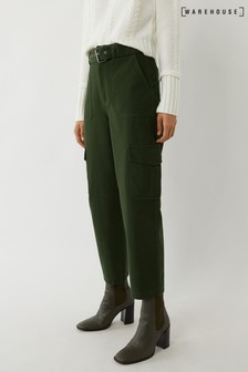 Warehouse Green Belted Cargo Trousers