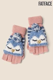 Modré rukavice s tučniakom FatFace