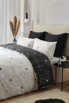 Etched Line Monochrome Floral Duvet Cover and Pillowcase Set