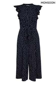 Monsoon Blue Spot Print Jumpsuit