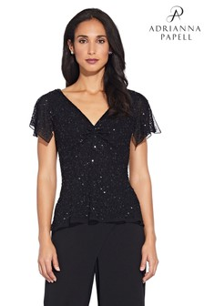 Adrianna Papell Black Dazzling Winds V-Neck Top