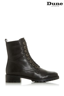 Dune London Black Prestone Leather Lace-Up Boots