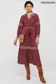 Monsoon Red Heshna Print Midi Dress