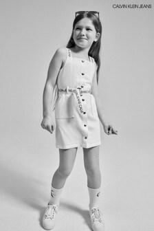 Calvin Klein Jeans White Button Logo Dress