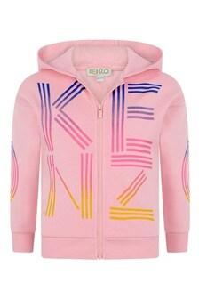 Girls Pink Cotton Logo Zip Up Top