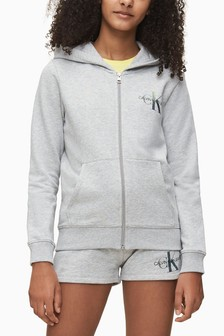 Calvin Klein Grey Iridescent Monogram Full Zip Hoody