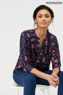 Monsoon Blue Lottie Print Linen Blouse