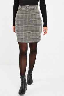 Belted Check Mini Skirt