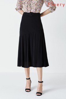 Finery Black Layne Belted Midi Skirt