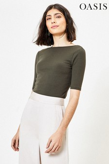 Oasis Green Ribbed Scoop Back Top