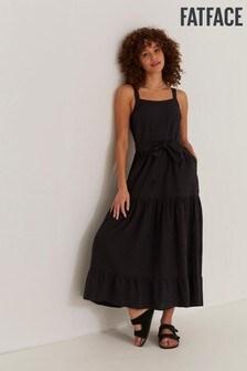 FatFace Black Nita Linen Blend Maxi Dress