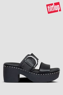 FitFlop™ Black Pilar Leather Slide Clogs
