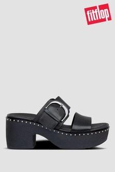 FitFlop™ Black Pilar Leather Slide Clogs
