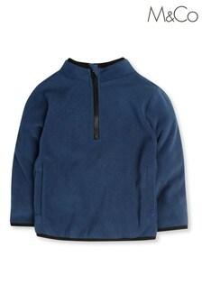 M&Co Kids Blue Zip Neck Fleece