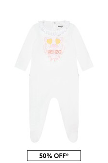 Kenzo Kids Girls White Cotton Babygrow