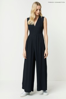 French Connection Black Carrabelle Crepe Pleated Jumpsuit