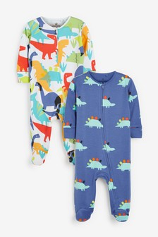 2 Pack Bright Dinosaur Zip Sleepsuits (0mths-2yrs)
