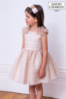 David Charles Pink/Ivory Organza Party Dress