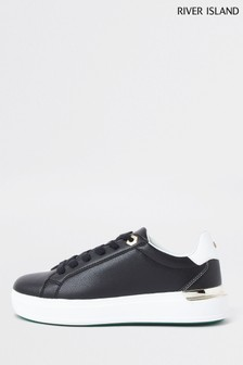 River Island Black Chunky Flat Lace-Up Shoes