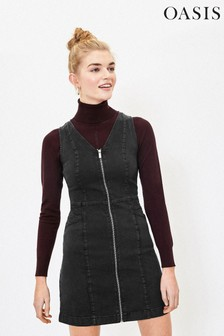 Oasis Black Zip Denim Shift Dress