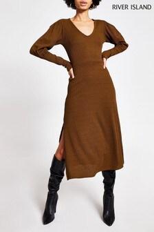 River Island Khaki Rib A Line Puff Sleeve Midi Dress