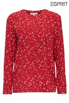 Esprit Red Print Long Sleeved Shirt