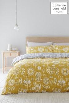 Catherine Lansfield Retro Scandi Birds Easy Care Duvet Cover and Pillowcase Set