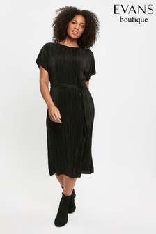 Evans Curve Black Pleated Midi Dress