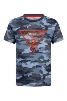 Boys Blue Camouflage Cotton T-Shirt
