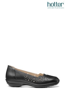 Hotter Black Zoe Slip-On Pumps