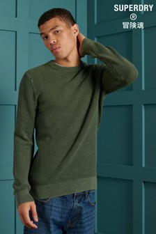 Superdry Olive Academy Dyed Texture Crew Neck Jumper