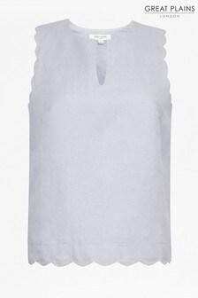 Great Plains Blue Linen Blend Scallop Vest