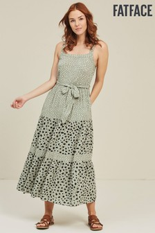FatFace Green Nita Double Spot Midi Dress
