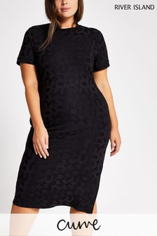 River Island Curve Black Leo Jacquard Dress