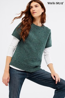 White Stuff Teal Autumn Leaves Jumper