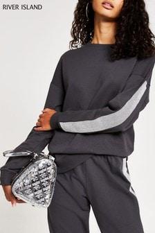 River Island Charcoal Embellished Strip Sweater