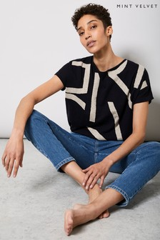 Mint Velvet Blue Navy Abstract Batwing Knit Top