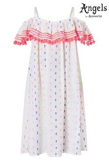 Angels by Accessorize White Dobby Spot Bardot Pom Pom Dress
