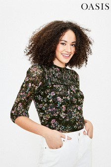 Oasis Blue Smudgy Floral Shirred Top