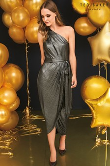 Ted Baker Gold One Shoulder Drape Midi Dress