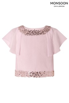 Monsoon Pink Meghan Sequin Floaty Top