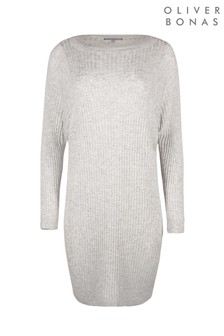 Oliver Bonas Flat Rib Grey Knitted Jumper Dress