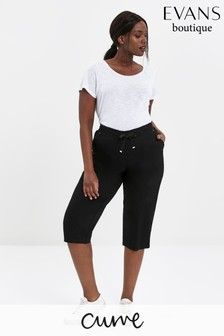 Evans Curve Black Linen Blend Cropped Trousers