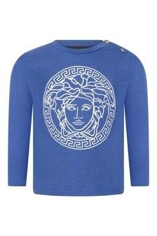 Baby Boys Blue Cotton Long Sleeve Logo T-Shirt