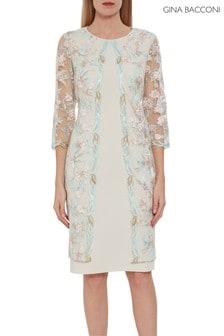 Gina Bacconi Haila Crepe And Embroidery Dress
