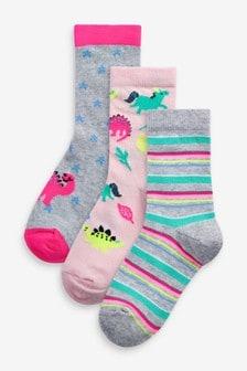 3 Pack Dinosaur Ankle Socks