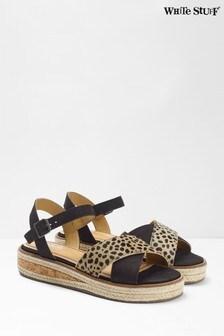 White Stuff Black Zena Jute Flatform Sandals