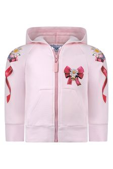 Monnalisa Baby Girls Pink Cotton Bow Print Zip-Up Top